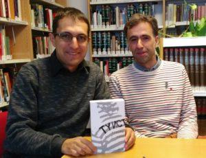 Баският писател Аркайнц Кано (дясно) в разговор с Георги Митов-Геми